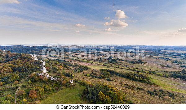 Autumn landscape aerial drone view - csp52440029