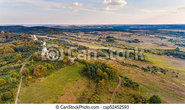 Autumn landscape aerial drone view - csp52452593