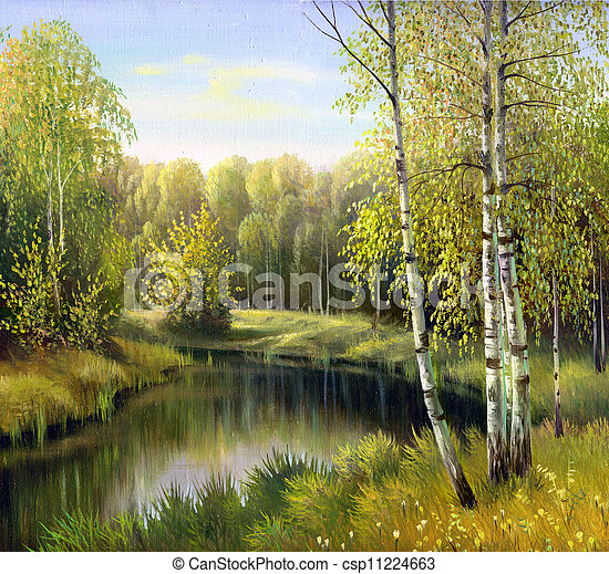 autumn landscape, canvas, oil - csp11224663