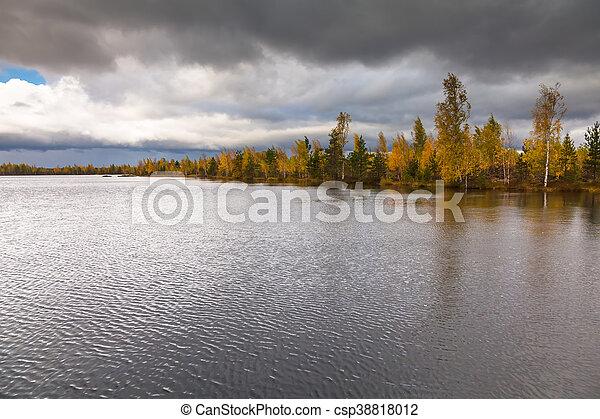Autumn landscape on the lake - csp38818012