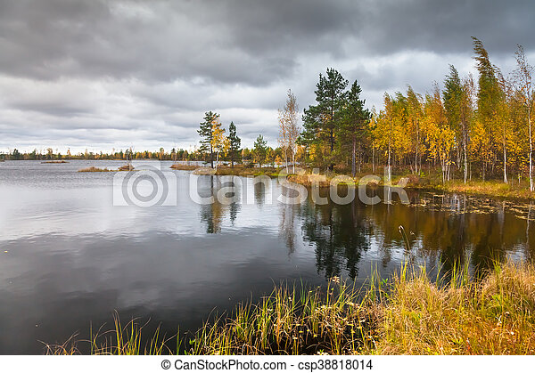 Autumn landscape on the lake - csp38818014