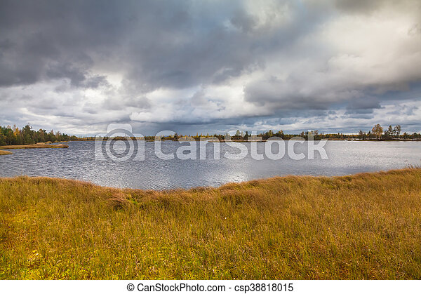 Autumn landscape on the lake - csp38818015