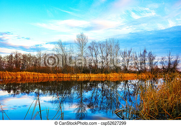 Autumn landscape on the lake - csp52627299