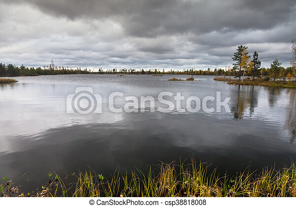 Autumn landscape on the lake - csp38818008