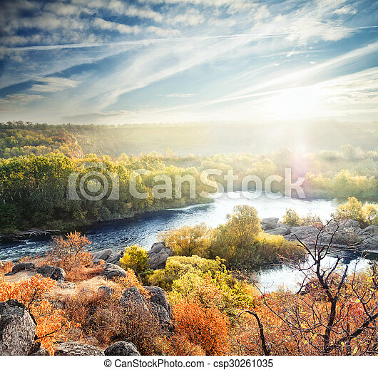 Autumn landscape with a mountain river - csp30261035
