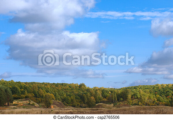 Autumn landscape with a sand footpath - csp2765506