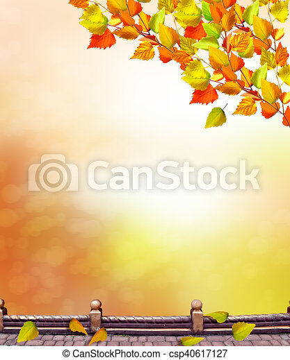 autumn landscape with bright colorful foliage. Indian summer. - csp40617127