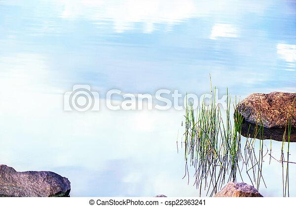 Autumn landscape with lake - csp22363241