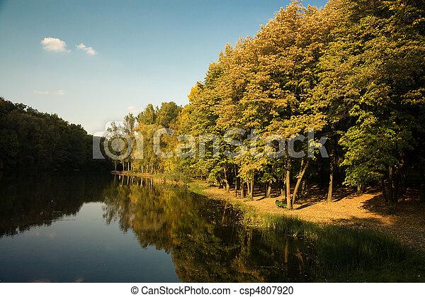 Autumn landscape with lake  - csp4807920