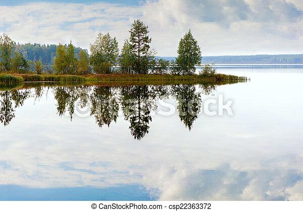 Autumn landscape with Salmon lake - csp22363372