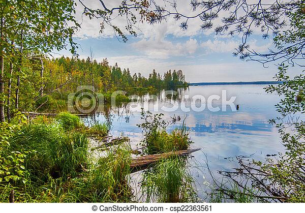 Autumn landscape with Salmon lake - csp22363561