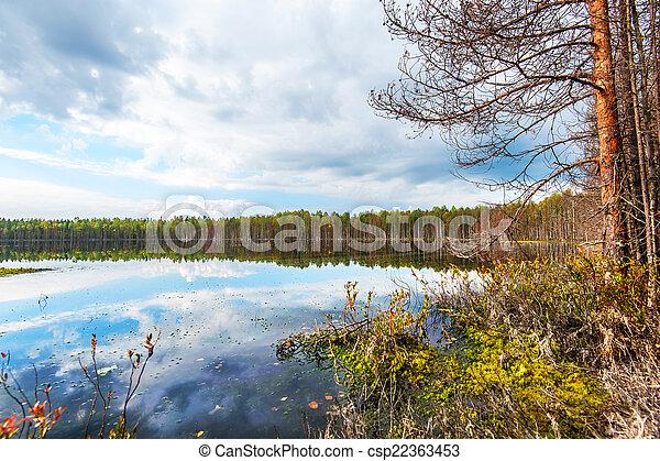Autumn landscape with Salmon lake - csp22363453