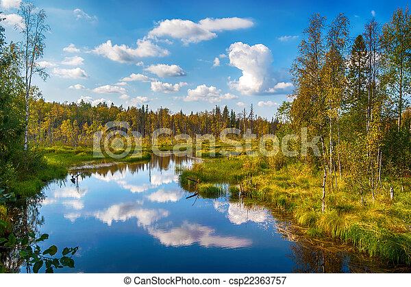 Autumn landscape with Salmon lake - csp22363757