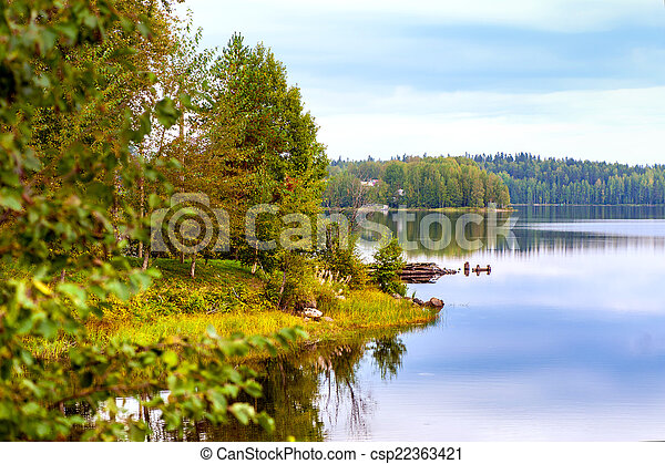 Autumn landscape with Salmon lake - csp22363421