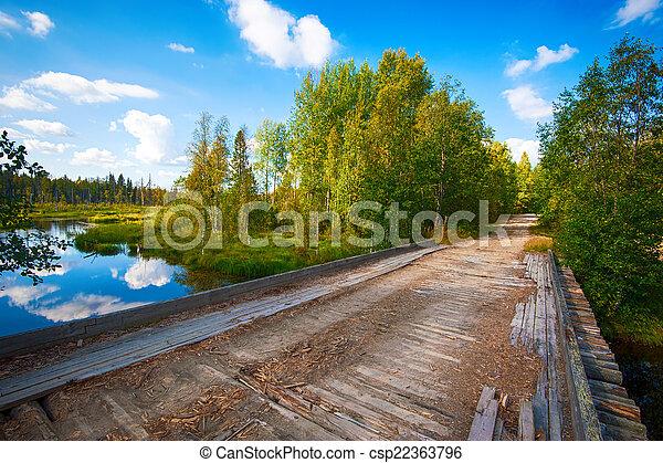 Autumn landscape with Salmon lake - csp22363796