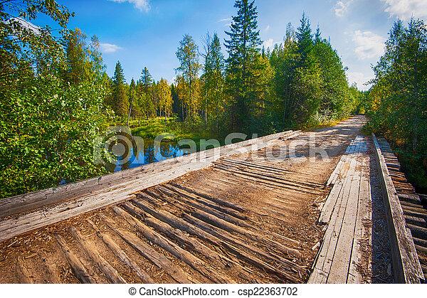 Autumn landscape with Salmon lake - csp22363702