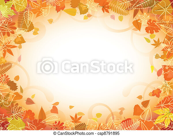 Autumn leaf frame with space for text - csp8791895