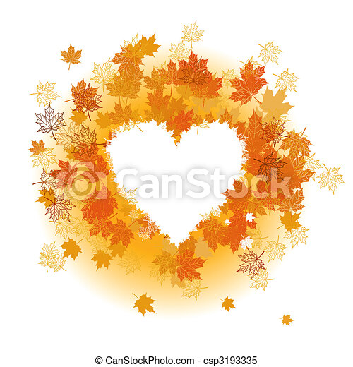 Autumn leaf: heart shape. Place for your text here. - csp3193335