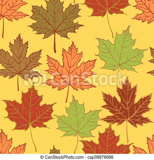 autumn leaf seamless pattern - csp39976686