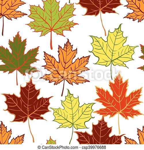 autumn leaf seamless pattern - csp39976688