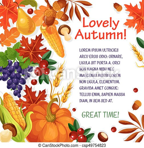 autumn leaf vegetable and fruit poster template fall season leaves