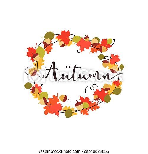 Autumn leaves and acorn wreath vector.