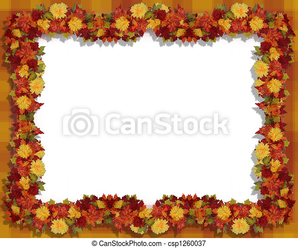 Autumn Leaves and flowers Frame - csp1260037