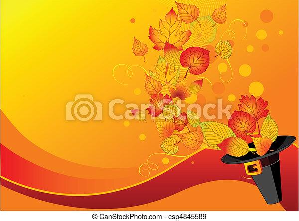 Autumn leaves and pilgrim%u2019s hat - csp4845589
