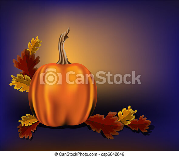 Autumn leaves and pumpkin on a blue background - csp6642846