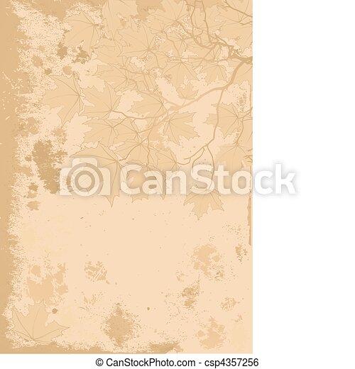 Autumn leaves antique background - csp4357256