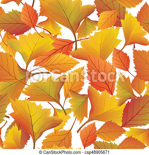 Autumn leaves background. Floral seamless pattern. Fall leaf nature - csp48905671