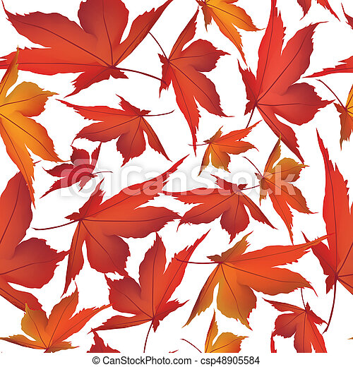 Autumn leaves background. Floral seamless pattern. Fall leaf nature - csp48905584