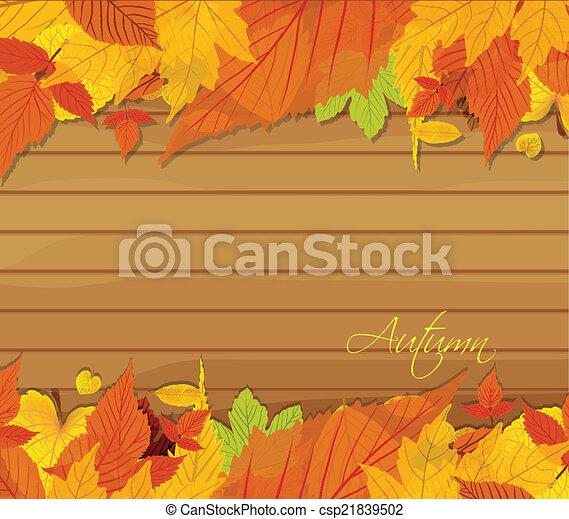 Autumn leaves background on wood - csp21839502