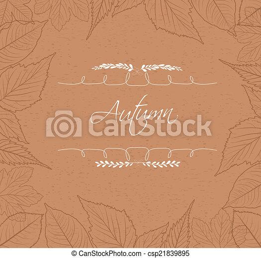 Autumn leaves border background - csp21839895
