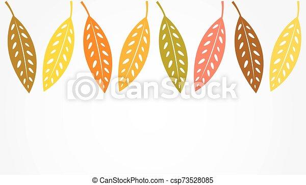 Autumn leaves border background. - csp73528085