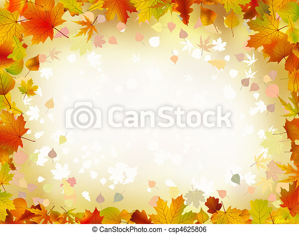 Autumn leaves border for your text. - csp4625806