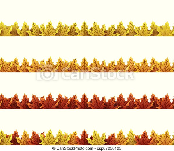 Autumn leaves border - csp67256125