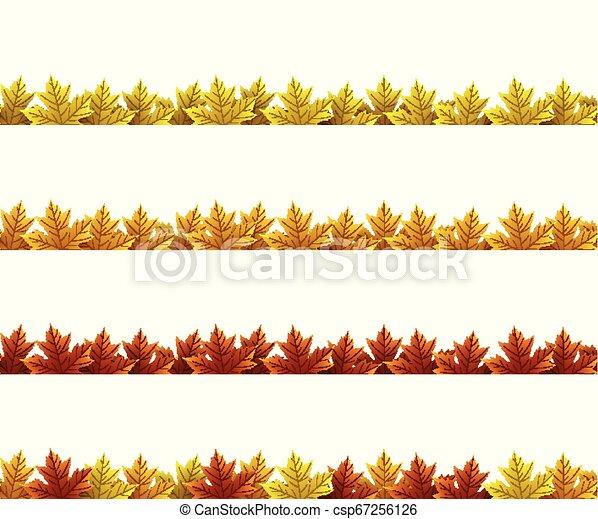 Autumn leaves border - csp67256126