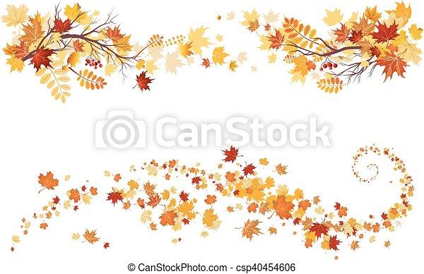 Autumn leaves border - csp40454606