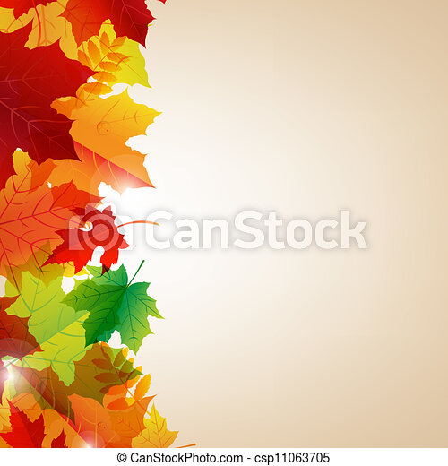 Autumn Leaves Border With Bokeh - csp11063705