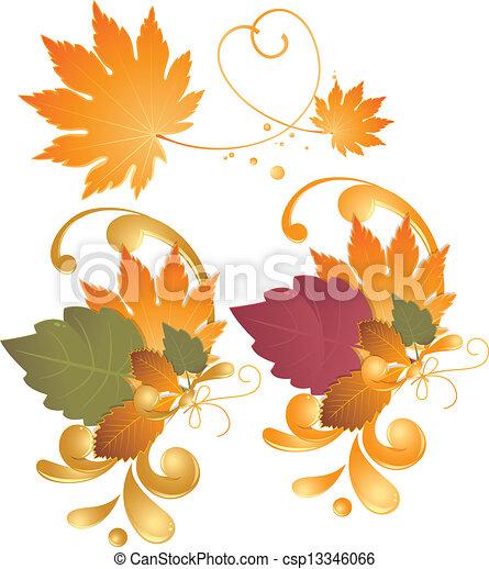Autumn leaves - design elements - csp13346066