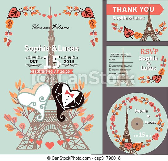 Autumn leaves eiffel tower hearts wedding invitation vector clip autumn leaves eiffel tower hearts csp31796018 stopboris Images