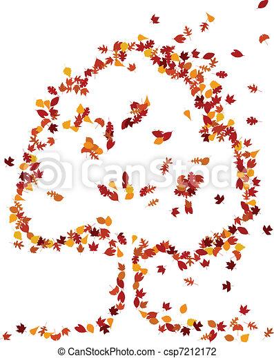 Autumn leaves form a tree shape - csp7212172