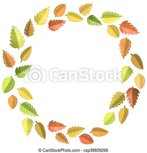 autumn leaves frame - csp39609266