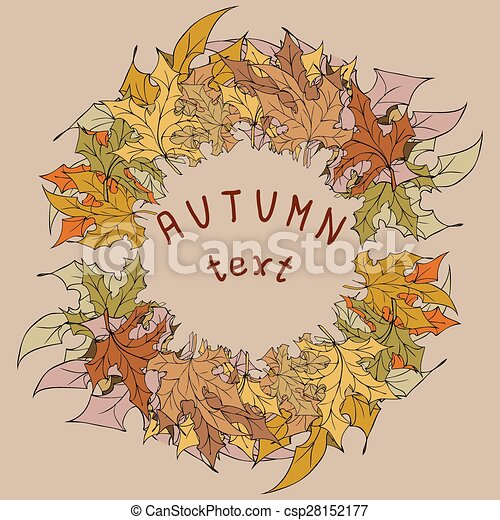 Autumn leaves frame for your text - csp28152177