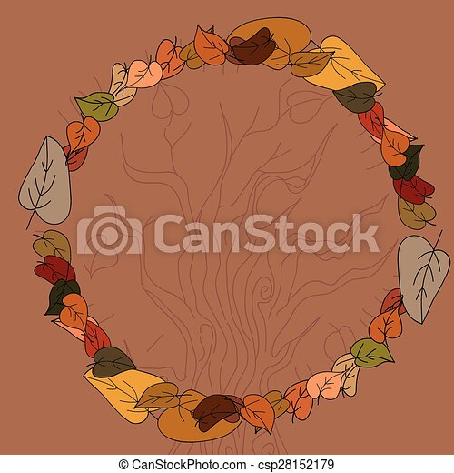 Autumn leaves frame for your text - csp28152179