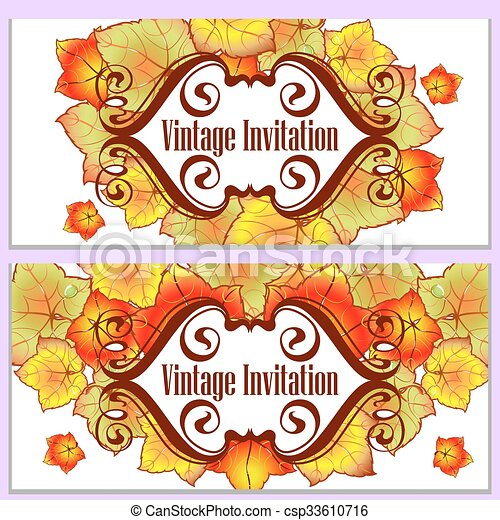 Autumn leaves invitation autumn leaves of different colors autumn leaves invitation csp33610716 stopboris Images