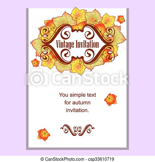 Autumn leaves invitation autumn leaves of different colors autumn leaves invitation csp33610719 stopboris Images