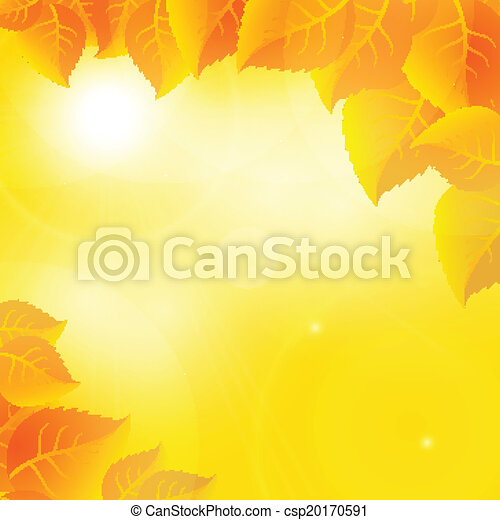 Autumn leaves on a sunny sky background - csp20170591