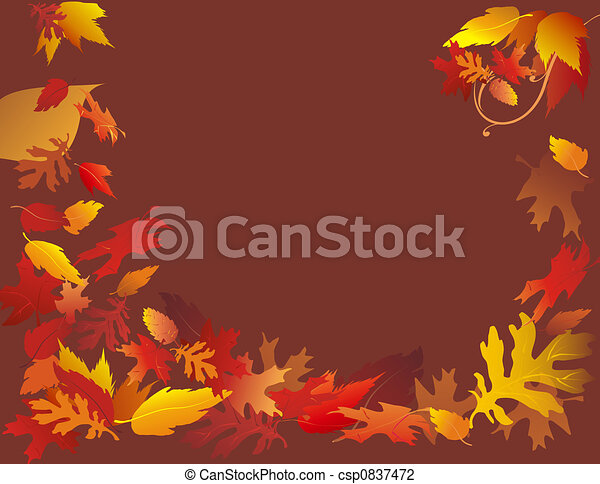 Autumn Leaves On Brown - csp0837472